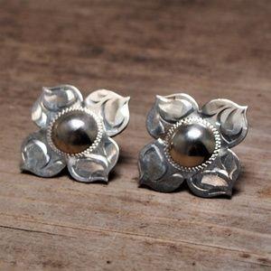 Delicate Vintage Sterling Silver Flower Earrings